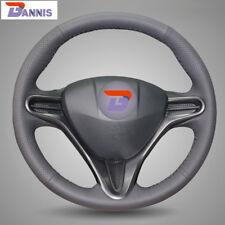 Black Leather Steering Wheel Cover for Honda Civic Civic 8 2006-2009 (3-Spoke)
