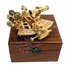 Polished Brass Ship Sextant Astrolabe With Wooden Box Kelvin & Hughes London