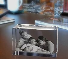 Personalised Laser Engraved Glass Block Crystal Paperweight Couples Gift
