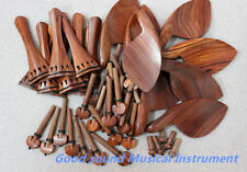 Wholesale 10 sets natural rosewood 4/4 violin accessories peg tailpiece chinrest