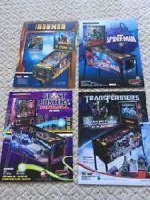 LOT OF 4 STERN  PINBALL MACHINE BROCHURE FLYERS IRONMAN, SPIDERMAN, GHOST BUST