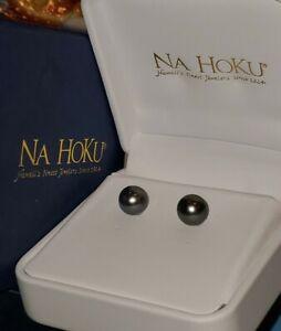 LUXURIOUS NEW IN GIFTBOX NaHoku GENUINE TAHITIAN BLACK PEARL 9mm STUD EARRINGS