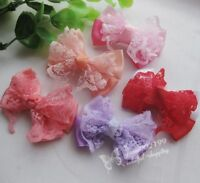Mix 20pcs New Ribbon Bows Flowers Appliques Crafts Wedding Decor RB092