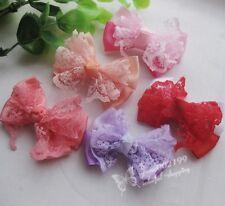Mix 20pcs New Ribbon Bows Flowers Appliques Crafts Wedding Decor RB092