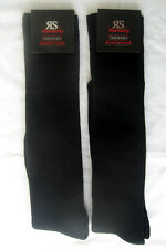 2 Pair Ladies Thermal Knee Socks With Inner Terry Comfort Band Black 39 - 42