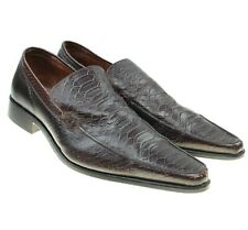 ZARA Mens Brown Embossed Textured Leather Loafers Dress Shoes Sz 11
