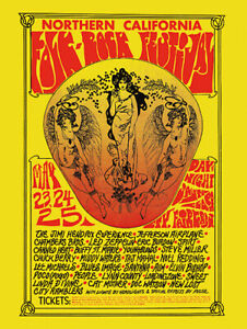Sixties - Northern California Folk Rock Festival Concert Poster reprint (1968)