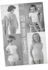 Vintage Patons pattern 1121 for children's vests in 3/4 ply yarn; up to 3yrs,4-9