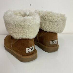 Ugg Ladies Brown Tan Chestnut Tall Long Turn Over Suede Sheepskin Boots UK 7