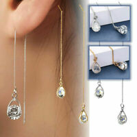 Stunning Icicles CZ Crystals Gold Silver Long Chain Threader Water Drop Earrings