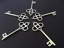 5 Antique Silver Effect Key Pendant Charms 67mm x 28mm.