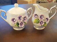 """Vintage small norcrest japan sugar and creamer  """" Sweet violet"""""""