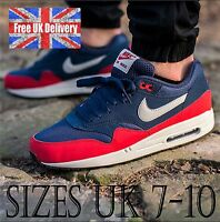 Nike AIR MAX 1 ESSENTIAL Men's Navy/Red Trainers UK 7-10 Shoes / UK SELLER