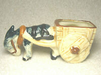 "VINTAGE 6"" PORCELAIN DONKEY PULLING CART FIGURINE PLANTER MADE IN JAPAN - NICE"