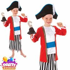 Boys Pirate Costume Captain Fancy Dress Caribbean Children Hook Outfit 6-8yrs