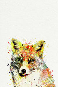 Fox Watercolour Country Style Canvas Print Wall Art - Various Size Options