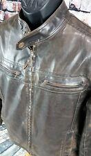 Military Brown Fleece Lined Faux Leather Biker MOTO RACER Jacket MENS MEDIUM