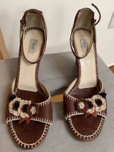Prada, leather wedge shoe with flower detail, heel approx 9cm, size 39