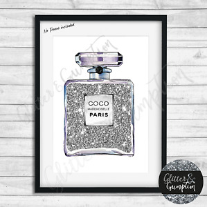 Fashion Art Iconic Perfume Bottle Watercolour silver line art beauty room print