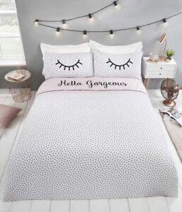 Hello Gorgeous Blush Pink Duvet Quilt Cover Girls Reversible Single Bedding Set