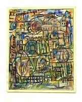 Contemporary Abstract Bold Cityscape Bright Colors Framed Oil Painting Signed