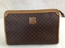 Auth Celine Macadam Clutch Bag Pouch PVC Brown 5E256481#