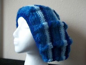 Hand knitted elegant and warm hat, beret type, striped blues
