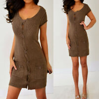 MOSSIMO Brown Short Sleeve Button Down Pockets Short Mini Dress S Small