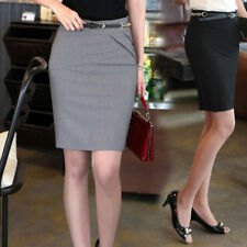 Women Off Lady Slim Short Pencil Skirt Straight Fitted OL Casual Bodycon S-4XL