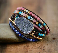 Bracelet Wrap Natural stone Druzy geode slice Turquoise Lapis Lazuli beaded