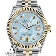 Woman's Rolex 36mm Datejust 2 Two Tone Baby Blue MOP Mother Of Pearl 8+2 Diamond