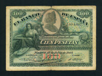 Spain:P-64a,100 Pesetas,1907 * Rare Type * F-VF *