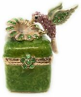 Kubla Crafts Enameled Hummingbird with Flower Blossom Trinket Box, Accented...