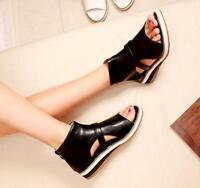 New Gladiator Womens Open Toe Ankle Boot Flat Shoes Zipper Summer Roman Sandals
