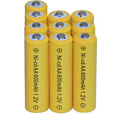 10 AA Rechargeable Batteries NiCd 600mAh 1.2v Garden Solar Ni-mh Light Nimh Lamp