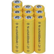 10 AA Rechargeable Batteries NiCd 600mAh 1.2v Garden Solar Ni-mh Light Nimh Lamp
