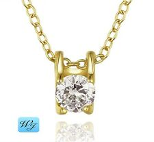 Real Ladies Girls Simulated Diamond Square Pendant Necklace 18K Gold S/F Gift