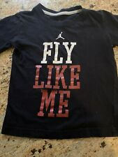 MICHAEL JORDAN Kids Black T-Shirt Red Metallic FLY LIKE ME Boys Size 5 Jumpman
