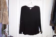 NEW Womens OLD NAVY XXL Black Long Sleeve Round Neck Blouse