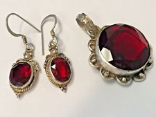 Beautiful Sterling Silver 925 Facet Red Glass Dangle Earring Pendant Set