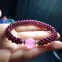 Natural Red Garnet 4mm Crystal 10mm Rose Quartz Round Beads Women Bracelet AAAA