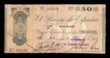 B-D-M España Spain Civil War Bilbao C.A.Vizcaína 50 Pesetas 1936 Pick s553h BC F