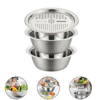3pcs Stainless Steel Basin Set Fruit Vegetable Bracket Drain Grater Kitchen Tool