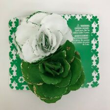 St Patricks Day Hair Accessory White and Green Flowers Hair Clips Set of 2