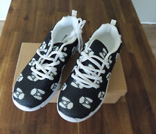 White Poodle Face Black Runners Sneakers Joggers Shoes Size 8 39 BNIB