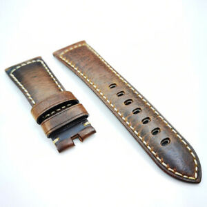 26mm Brown Red Waxy Crack Calf Leather Watch Band Strap For PAM Wrist Watch