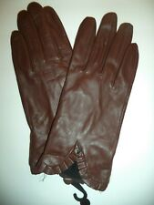 Ladies Leather {Ruffle Cuff} Gloves*,Brown, Large