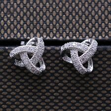 Charm Chic White Crystal Stud Earring 18K White Gold Plated CZ Women Earrings