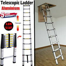 3.8m HeavyDuty Aluminium Telescopic Ladder Extendable Roof Loft Attic Office DIY