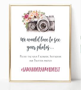 Personalised A4 Wedding Sign Floral Camera Hashtag Instagram Facebook - Marsala